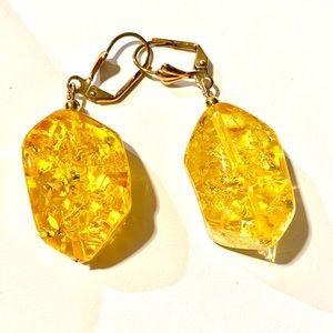 Earring 18k micro goldplated vintage modern amber